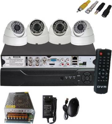 Easy-4-CCTV-Dome-camera-&-4-channel-DVR-kit-Home-Security-Camera-(With-Power-Supply,Software-CD,Mouse)