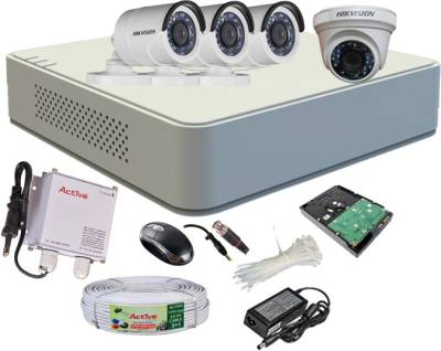 Hikvision-DS-7104HGHI-F1-Mini-4CH-Dvr,-3(DS-2CE16C2T-IRB)-Bullet,-1(DS-2CE56C2T-IR)-Dome-Camera-(With-Mouse,-500GB-HDD,-Bnc&Dc-Connectors,Power-Supply,Cable)