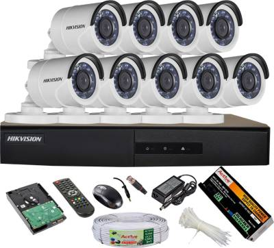 Hikvision-DS-7216HGHI-E1-16CH-Dvr,-9(DS-2CE16COT-IR)-Bullet-Camera-(With-Mouse,-Remote,-2TB-HDD,-Bnc&Dc-Connectors,-Power-Supply,-Cable)