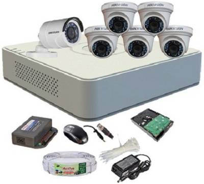 Hikvision-DS-7108HGHI-F1-Mini-8CH-Dvr,-5(DS-2CE56COT-IR)-Dome,-1(DS-2CE16COT-IR)-Bullet-Camera-(With-Mouse,1TB-HDD,-Bnc&Dc-Connectors,Power-Supply,Cable)