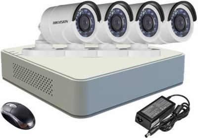 Hikvision-DS-7104HGHI-E1-4-Channel-DVR-4-(DS-2CE16COT-IR)-Bullet-Camera-(With-Adapter-&-Mouse)