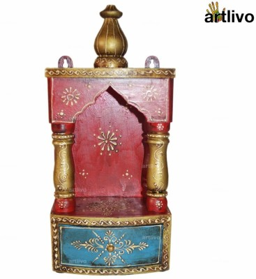 Artlivo Embossed with Drawer Wooden Home Temple(Height: 34 cm)