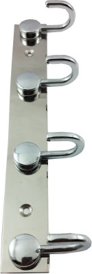 DOCOSS Button 4 Pin Cloth Hanger Wall Hooks For Hanging keys,Clothes,towel 4 - Pronged Hook Rail(Silver) at flipkart