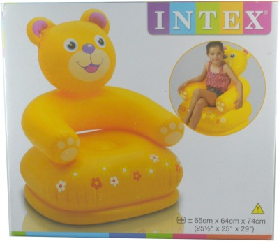 Intex Happy Animal Bear Inflatable Animal Chair(Yellow)
