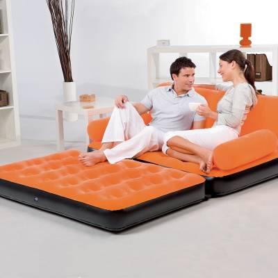 Bestway Karmax PVC 3 Seater Inflatable Sofa (Color - Orange) PVC 3 Seater Inflatable Sofa