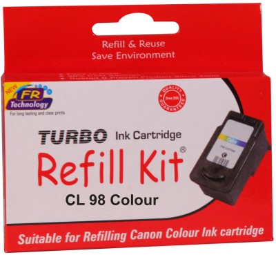 Turbo Ink Refill Kit for Canon CL 98 cartridge Multi Color Ink(Magenta, Cyan, Yellow)  available at flipkart for Rs.560