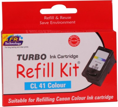 Turbo Ink Refill Kit for Canon CL 41 cartridge: Multi Color Ink(Magenta, Cyan, Yellow)  available at flipkart for Rs.560