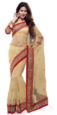 Sourbh Sarees Embroidered Fashion Net Saree(Red, Beige)
