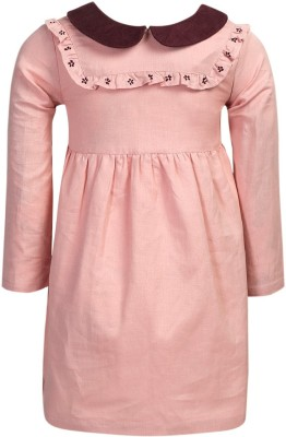ShopperTree Girls Midi/Knee Length Party Dress(Pink, Full Sleeve) at flipkart