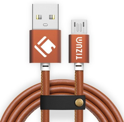 TIZUM Faux Leather (1.2 meter/ 4 Feet) Fast Charging Micro USB Cable(Compatible with Android Phones, Brown, Sync and Charge Cable) at flipkart