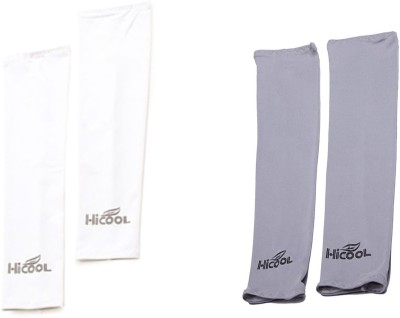 DeNovo HiCool UV Protection Arm Sleeves (2 Pairs) Fitness Band(White, Grey)  available at flipkart for Rs.189