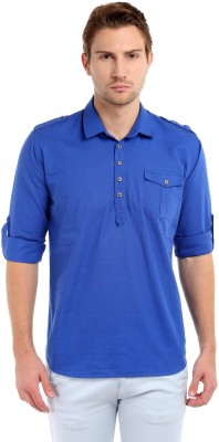 La Seven Solid Men's Straight Kurta(Blue)