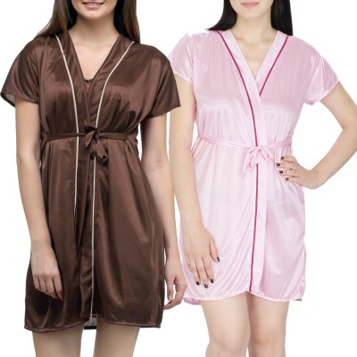 You Forever Women Robe(Brown, Pink) at flipkart
