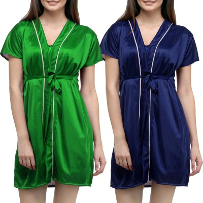 You Forever Women Robe(Green, Blue) at flipkart
