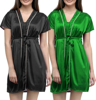 You Forever Women Robe(Green, Black) at flipkart