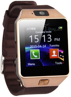 HEALTHIN with SIM card, 32GB memory card slot, 002-GD Golden Smartwatch(Brown Strap Regular) at flipkart