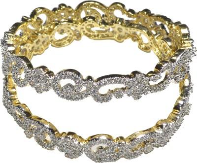 Jewels Kafe Alloy Cubic Zirconia 18K Yellow Gold Bangle Set(Pack of 2)