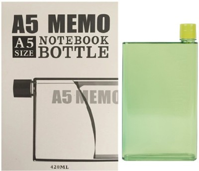 VibeX ® Portable Flat A5 Memo Size NoteBook Water Bottle 420 ml(Green)