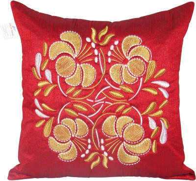 Zikrak Exim Embroidered Cushions Cover(40 cm*40 cm, Maroon, Gold, White) at flipkart