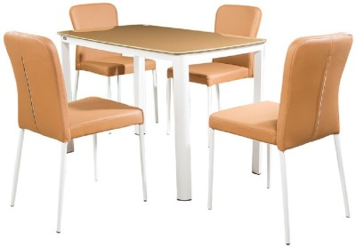 Parin Glass 4 Seater Dining Set(Finish Color - yellow)