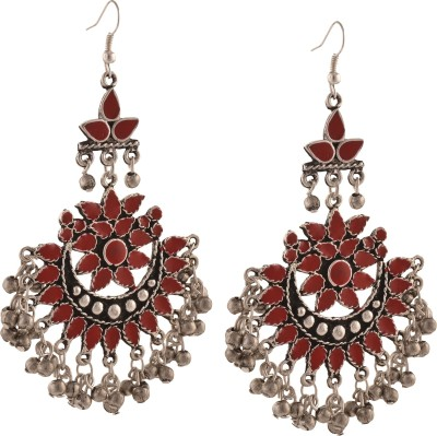 Zephyrr Fashion Oxidized Silver Afghani Tribal Dangler Hook Chandbali Earrings Alloy Dangle Earring at flipkart