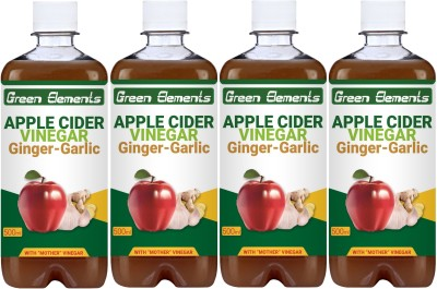 Green Elements Apple Cider Vinegar with Natural & Pure Ginger-Garlic Juice, with Mother Vinegar, Sports Drink(2000 ml Pack of 4)