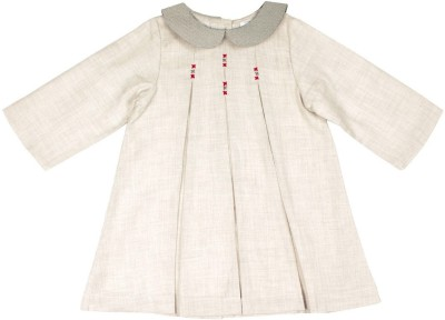 ShopperTree Girls Midi/Knee Length Party Dress(Grey, Full Sleeve) at flipkart