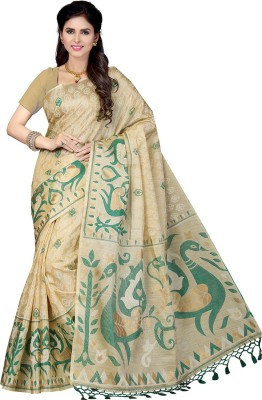 Rani Saahiba Printed Bhagalpuri Art Silk Saree(Beige, Green) at flipkart
