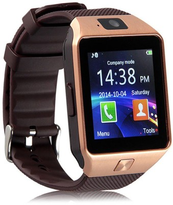 Shan DZ09-136 Bluetooth with Built-in Sim card and memory card slot Compatible with All Android Mobiles Brown Smartwatch(Brown Strap Regular) at flipkart