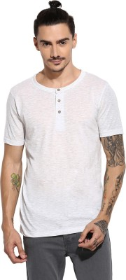 Campus Sutra Solid Men Henley White T Shirt
