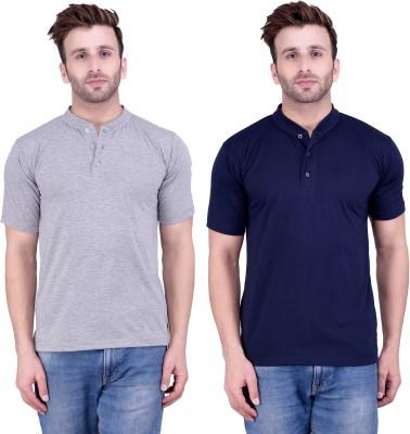 Weardo Solid Men's Henley Grey, Blue T-Shirt(Pack of 2) at flipkart