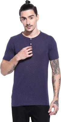 Campus Sutra Solid Men Round Neck Purple T-Shirt at flipkart