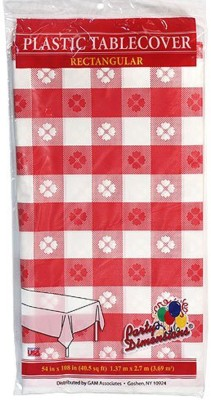 Party Dimensions Printed 4 Seater Table Cover(Red, Plastic) at flipkart
