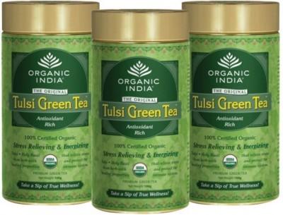 Organic India Tulsi Green - 100g Tin - Set of 3 Infusion Tea Bag(100 g)