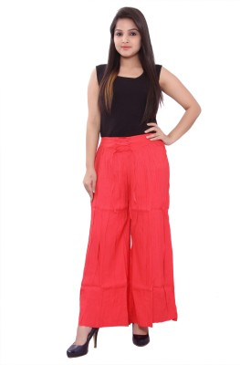 Razio Regular Fit Women Red Trousers at flipkart