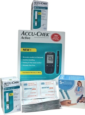 Accu check Accu Chek Active Sugar Meter(10 Strips Free)+ Active 50 Test Strips Pack+ 100 Lancets+ 100 Alcohol Swabs Combo Glucometer(Multicolor)