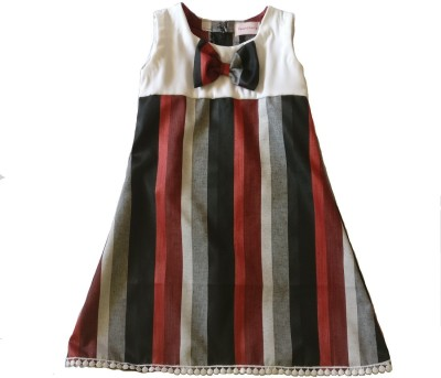 PeachCherry Girls Midi/Knee Length Party Dress(Maroon, Sleeveless)