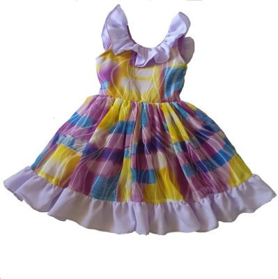 PeachCherry Girls Midi/Knee Length Casual Dress(Multicolor, Sleeveless)