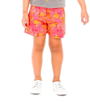 Cherry Crumble California Short For Girls Floral Print Cotton Blend(Orange, Pack of 1)