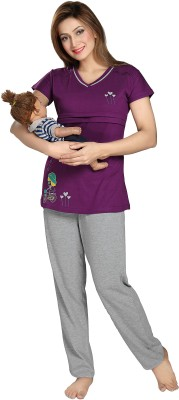 AV2 Women's Solid Purple Top & Pyjama Set