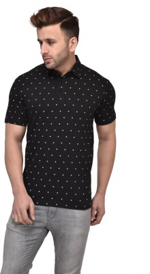 Vivid Bharti Polka Print Men Polo Neck Black T-Shirt