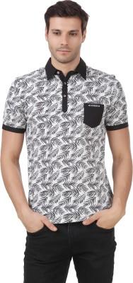 Le Bourgeois Solid Men Polo Neck White, Black T-Shirt