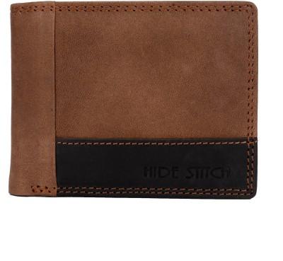 Hide Stitch Men Multicolor Genuine Leather Wallet 4 Card Slots