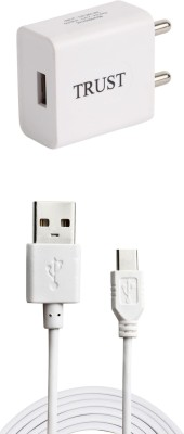 TrUST 2A. Fast Charger with Type C USB Cable For All Smartphones 1 A Mobile Charger with Detachable Cable White