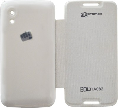 COVERNEW Flip Cover for Micromax Bolt A082(White, Flip Cover, Artificial Leather, Plastic)