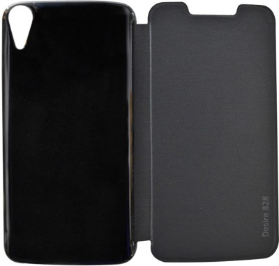 COVERNEW Flip Cover for HTC Desire 828(Black, Flip Cover, Artificial Leather, Plastic)