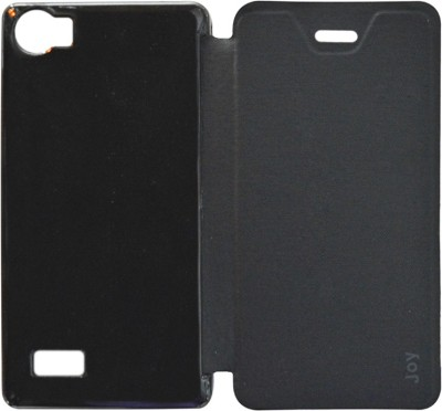 Coverage Flip Cover for Intex Aqua Joy(Black, Artificial Leather, Plastic)