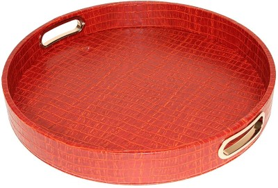 Artikle 1 Compartments Leather Round Tray Leather Crocodile Print with Stainless Steel Handles Can be Wiped(Mars Red)