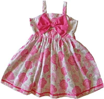 PeachCherry Girls Midi/Knee Length Casual Dress(White, Sleeveless)