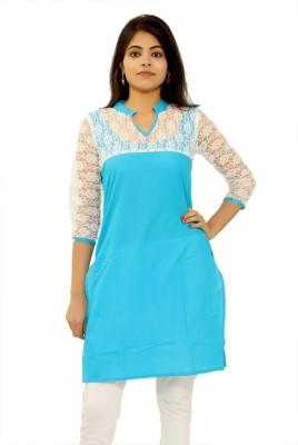 Apex Festive & Party Self Design Women Kurti(Blue, White)